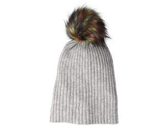 Hat Attack Lightweight Rib Watch Cap with Multi Faux Pom