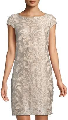 Eliza J Lace Cap-Sleeve Shift Dress