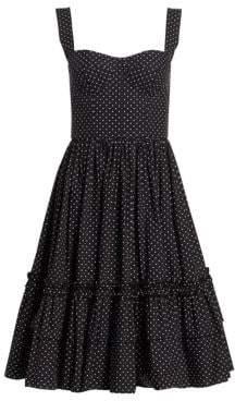 Dolce & Gabbana Polka Dot Bustier Ruffle Hem Dress