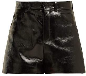 Saint Laurent High Waisted Vinyl Shorts - Womens - Black