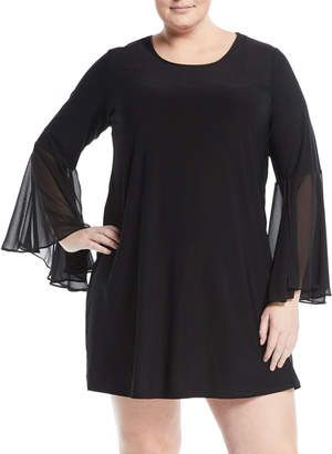 Carmen Marc Valvo Carmen By Plus Chiffon Bell-Sleeve Dress, Plus Size