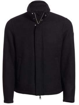 Emporio Armani Men's Regular-Fit Wool-Blend Shirt Jacket - Black - Size 50 (40)