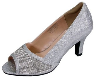 FLORAL Noemi Women Extra Wide Width Open-Toe Rhinestone Slip-On Party Heeled Dress Pumps SILVER 6.5