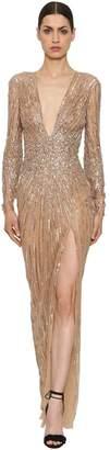 Murad Zuhair Sequins & Beads Tulle Long Dress
