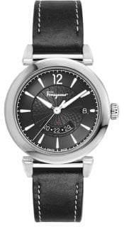 Salvatore Ferragamo Feroni Stainless Steel Leather-Strap GMT Watch