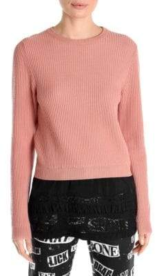 Moschino Wool Lace-Hem Pullover Sweater