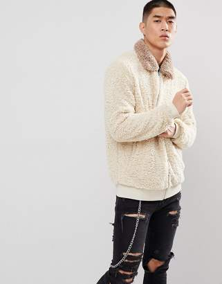 BEIGE ASOS DESIGN ASOS Harrington Jacket In Borg With Contrast Collar In