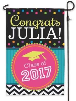 """""""Congrats Grad!"""" Outdoor Garden Flag in Black"""