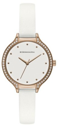 BCBGMAXAZRIA Women's Gold Case Black Dial Black Strap Watch
