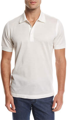Brioni Cotton Pique Polo Shirt, White