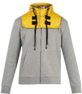 Valentino Detachable Hood Zip Up Cotton Blend Sweatshirt - Mens - Grey