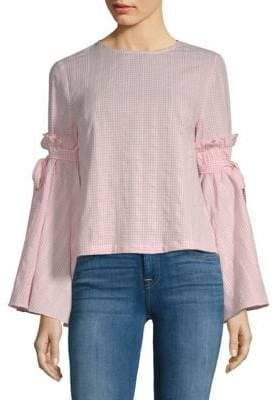 ENGLISH FACTORY Tie Sleeve Gingham Top