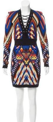 Balmain Geometric Jacquard Dress w/ Tags
