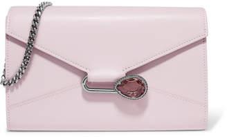 Alexander McQueen Pin Crystal-embellished Leather Shoulder Bag - Lilac