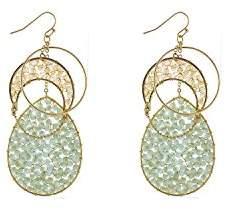Panacea Womens Topaz Teardrop Layered Earrings
