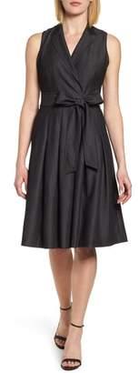 Anne Klein Notch Collar Stretch Denim Dress