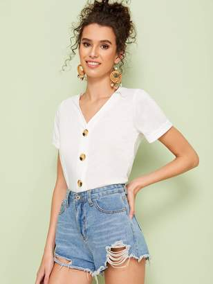 Shein V-neck Button Front Rolled Cuff Tee