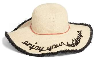 Sole Society Embroidered Straw Sun Hat with Fringe