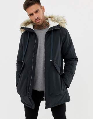 Pull&Bear fleece lined parka in blue