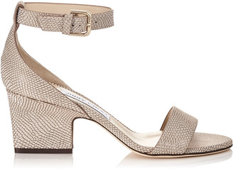 Jimmy Choo EDINA 65 Nude Printed Metallic Leather Wedges