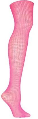 Leg Avenue Women's Nylon Fishnet Pantyhose Hosiery, Neon Pink, One Size