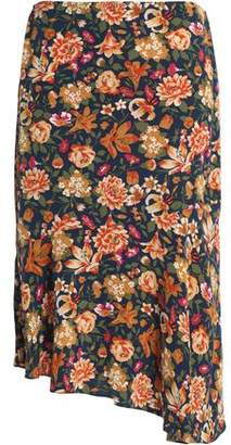 Vanessa Bruno Asymmetric Floral-Print Silk Skirt