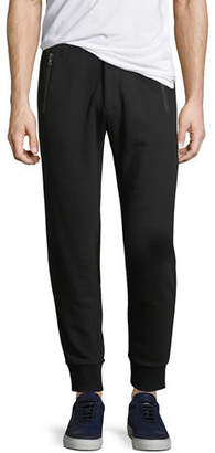 Michael Kors Leather-Trim French Terry Jogger Pants