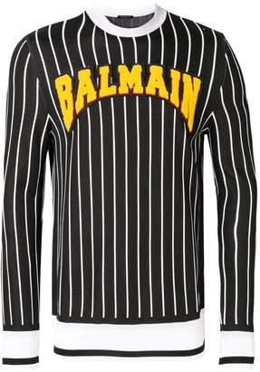 Balmain striped logo sweatshirt
