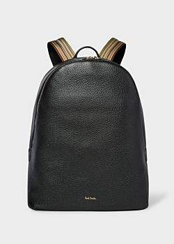 Paul Smith Men's Black Leather Backpack With Signature Stripe Straps
