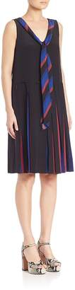 Marc Jacobs Women's Pleated V-Neck Dress With Tie