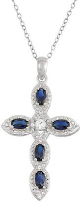 Silver Cross FINE JEWELRY Lab-Created Blue Sapphire & White Sapphire Sterling Pendant