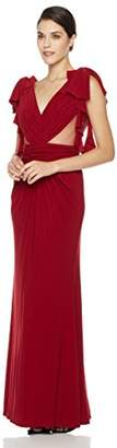 Social Graces Women's Gathered V-Neck Ruffle Sleeve Sheer Inset Gown 8