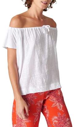 Whistles Tie Neck Off the Shoulder Linen Top