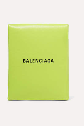 Balenciaga Shopping Envelope Printed Textured-leather Clutch - Green