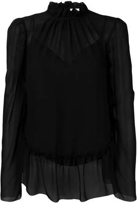 See by Chloe sheer ruffle trim blouse