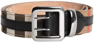 Burberry topstitched house check and leather belt