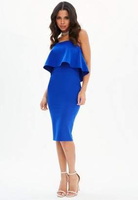 Missguided Blue Bandeau Frill Midi Dress, Blue