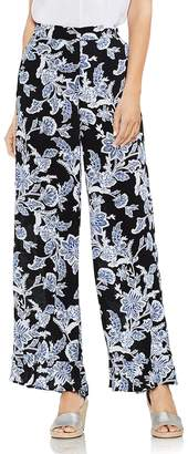 Vince Camuto Floral Wide-Leg Ruffle Pants