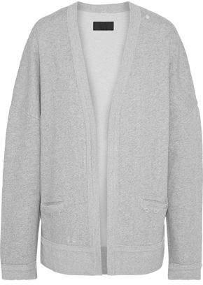 RtA Distressed Melange Cotton-fleece Cardigan