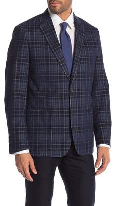 English Laundry Blue Plaid Corduroy Fancy Two Button Notch Lapel Sport Coat