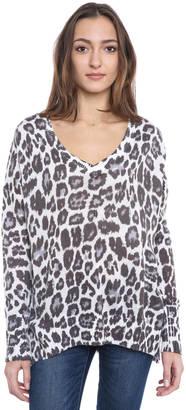 John & Jenn Snow Leopard V-Neck Pullover Sweater $88 thestylecure.com