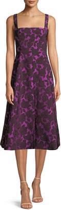 Lela Rose Square-Neck Sleeveless Floral-Jacquard Fit-and-Flare Dress