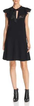 Rebecca Taylor Tie-Neck Lace-Trimmed Crepe Dress