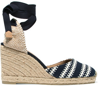 Castañer - Carina Woven Canvas Wedge Espadrilles - Midnight blue $125 thestylecure.com