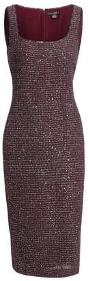 St. John Sequin Tweed Sleeveless Sheath Dress