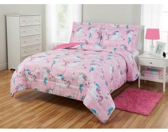 Mainstays Kids Love Unicorns Reversible Comforter Set