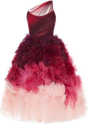 Marchesa Ombre Organza Off Shoulder Tea Length Gown