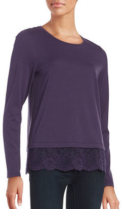Lord & Taylor Lace Hem Tee $54 thestylecure.com