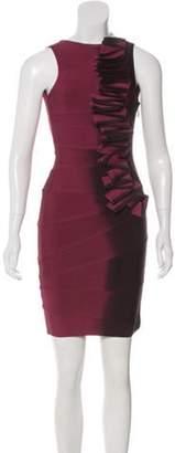 Herve Leger Ruffled Mini Dress Magenta Ruffled Mini Dress
