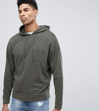 Asos DESIGN tall oversized hoodie with cut and sew sleeves in khaki vintage wash